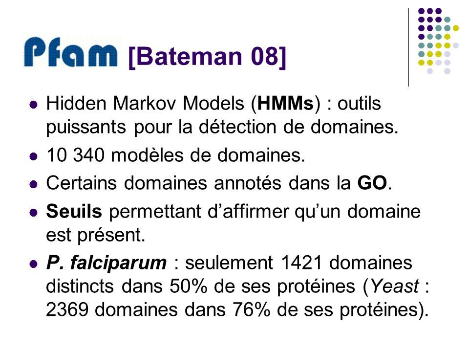 [Bateman 08] Hidden Markov Models (HMMs) : outils puissants pour la détection de domaines. 10 340 modèles de domaines.